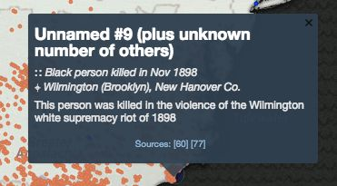 "Many of the victims on the map are listed as ""unknown."""