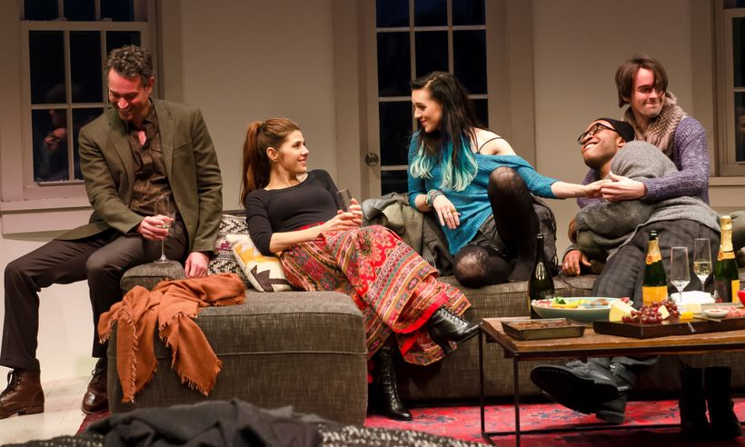 Omar Metwally, Marisa Tomei, Lena Hall, Austin Smith and David McElwee in <em>How to Transcend a Happy Marriage</em>