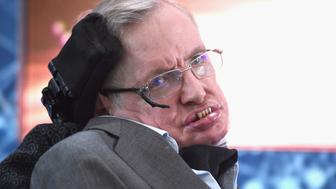 NEW YORK, NEW YORK - APRIL 12:  Cosmologist Stephen Hawking attends the New Space Exploration Initiative 'Breakthrough Starshot' Announcement at One World Observatory on April 12, 2016 in New York City.  (Photo by Gary Gershoff/WireImage)