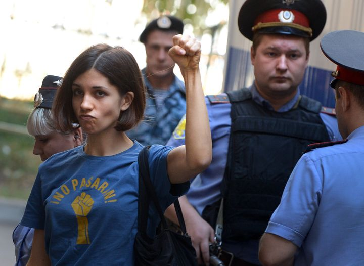 Tolokonnikova gestures before a court hearing in Moscow in 2012.