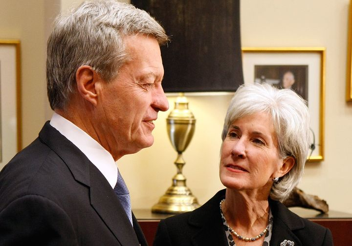 Then-Senate Finance Committee Chairman Max Baucus (D-Mont.) receives then-Health and Human Services Secretary-designate Kathleen Sebelius in his Capitol Hill offices on March 12, 2009.
