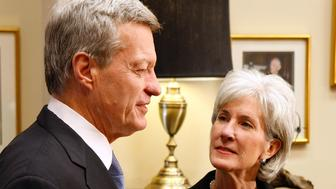 WASHINGTON - MARCH 12:  Senate Finance Committee Chairman Max Baucus (D-MT) (L) visits with Health and Human Services Secretary-designate Kathleen Sebelius in his Capitol Hill offices March 12, 2009 in Washington, DC. Sebelius, the current Democratic governor of Kansas, has been tapped by President Barack Obama to help lead the charge for health care reform.  (Photo by Chip Somodevilla/Getty Images)
