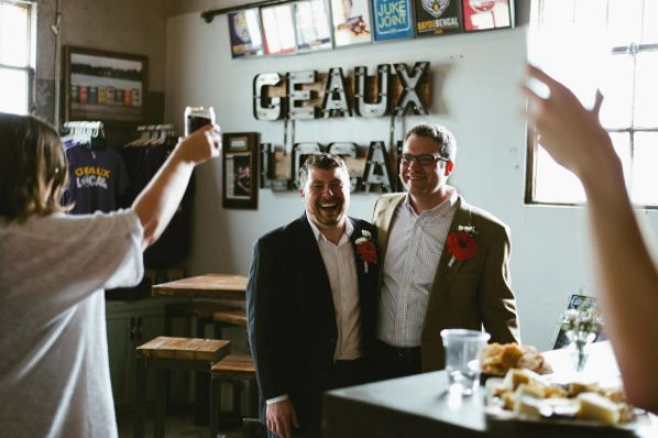 """""""Cheers to the newlyweds! This <a href=""""https://www.instagram.com/tinroofbeer/"""">@tinroofbeer</a> wedding was such a joy to ca"""