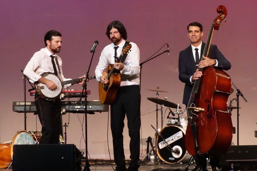 Scott Avett, Seth Avett, and Bob Crawford at the North Carolina Music Hall of Fame Induction Ceremony, Kannapolis, North Caro