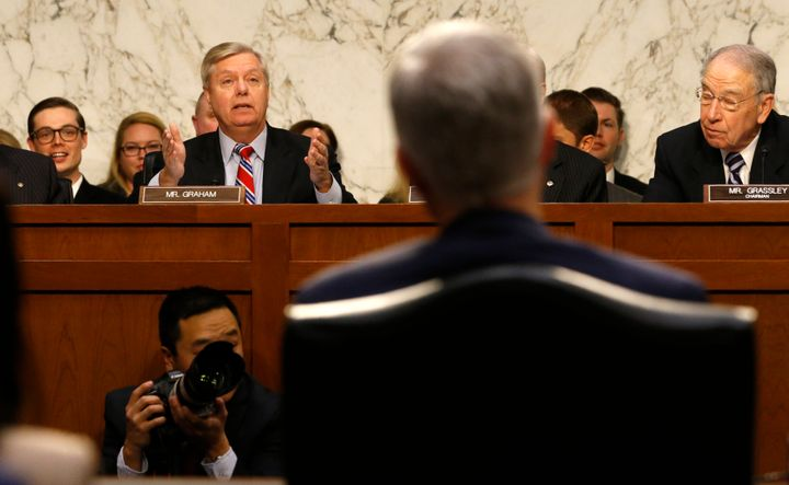 Sen. Lindsey Graham (R-S.C.), left, delivers his opening statement during the Senate Judiciary Committee confirmation hearing
