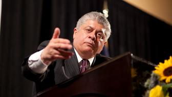 Former New Jersey Superior Court Judge and now a Fox News legal and political analyst Andrew Napolitano speaks to the We Texans rival political party in Dallas. The group was shut out from the Republican Convention in Dallas over the weekend and met at another local hotel. (Photo by Robert Daemmrich Photography Inc/Corbis via Getty Images)