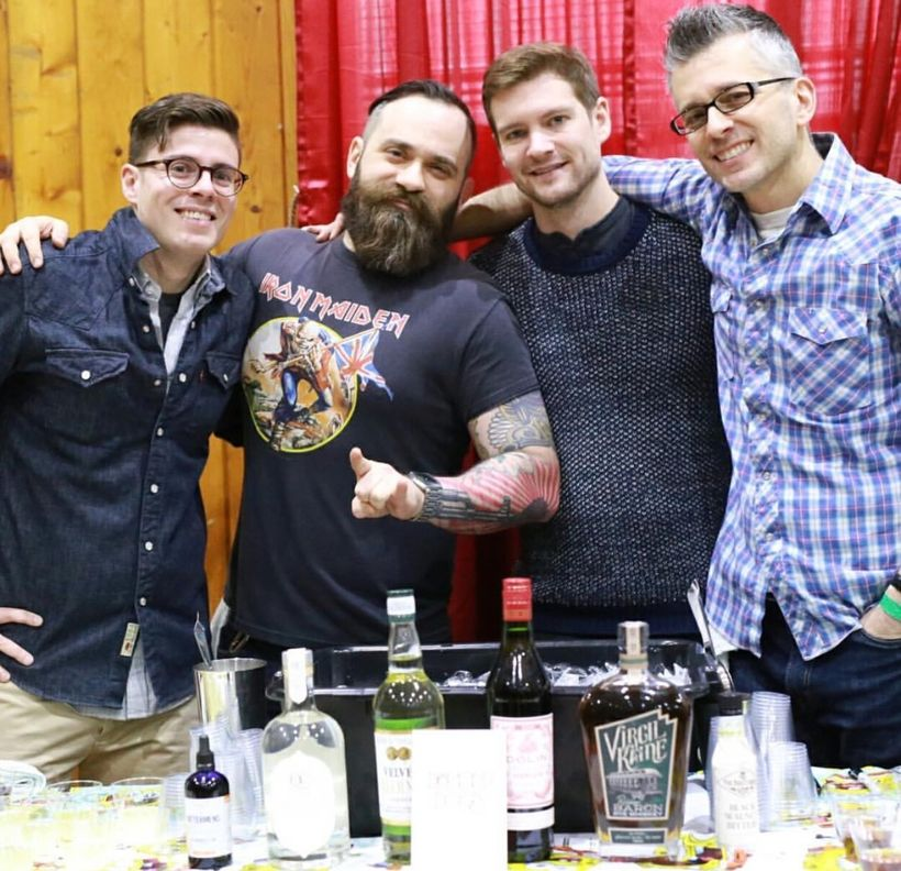 """Diamond Dogs, of Astoria, reppin Virgil Kaine Low Country Whiskey Co. with their """"Holy Mountain Cocktail""""."""