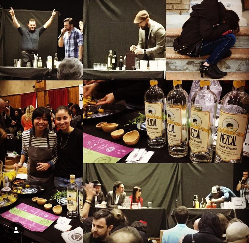 Top left, Zakarija finishes his cocktail, Paddy O'Brien of The Last Word, directly right of him preparing his award winning M