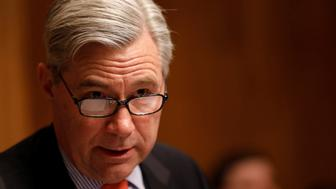 Ranking Member Sen. Sheldon Whitehouse (D-RI) speaks at a Senate Judiciary Subcommittee on Crime and Terrorism hearing about Russian election interference on Capitol Hill in Washington, D.C., U.S. March 15, 2017.  REUTERS/Aaron P. Bernstein