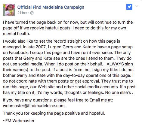 Madeleine McCann Official Facebook Page Reopens After 'Hateful' Troll
