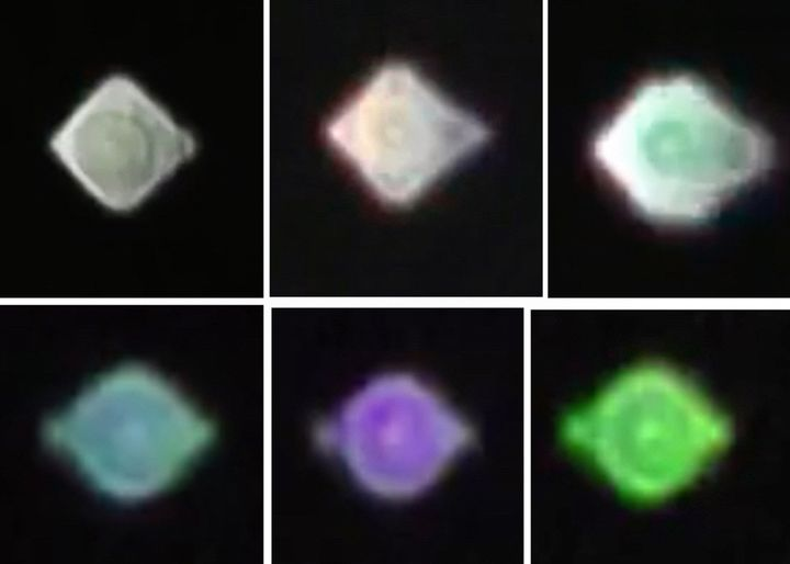 The top row are screen grabs from a video taken in January 2017 of a reported UFO over Liverpool, UK. The bottom row shows a