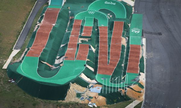 An aerial view of the Olympic BMX track.