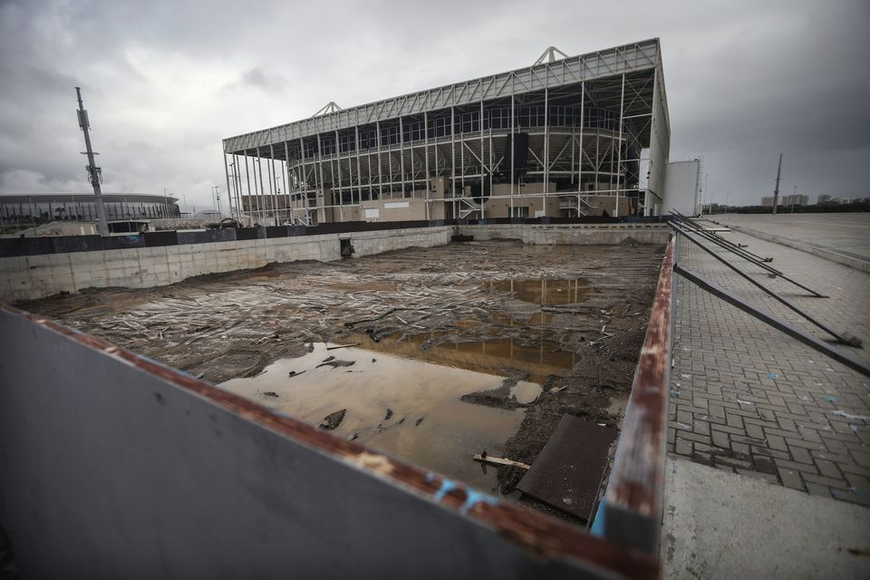 The remains of the practice pool in front of the Olympic Aquatics Stadium at the Olympic Park on March 18, 2017, in Rio de Ja
