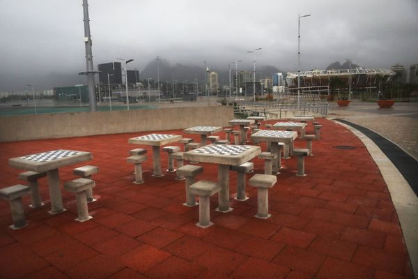 Chess tables stand in Olympic Park.
