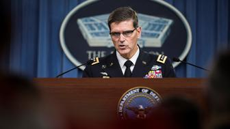 ARLINGTON, UNITED STATES - AUGUST 30: General Joseph Votel, Commander of U.S. Central Command (CENTCOM), gives a speech during a press briefing at the Pentagon in Arlington, VA., USA on August 30, 2016. U.S. naval vessels have continued to face harassment by Iranian Revolutionary Guards Corps (IRGC) ships in recent days, the U.S.s Middle East commander said Tuesday. (Photo by Samuel Corum/Anadolu Agency/Getty Images)