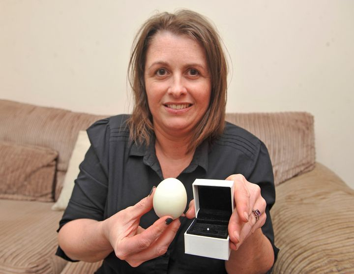 Sally Thompson, 39, says she found this diamond in a soft-boiled egg