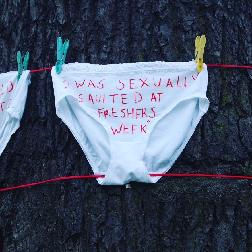 Roehampton University students have hung underwear decorated with quotes from sexual assault victims...