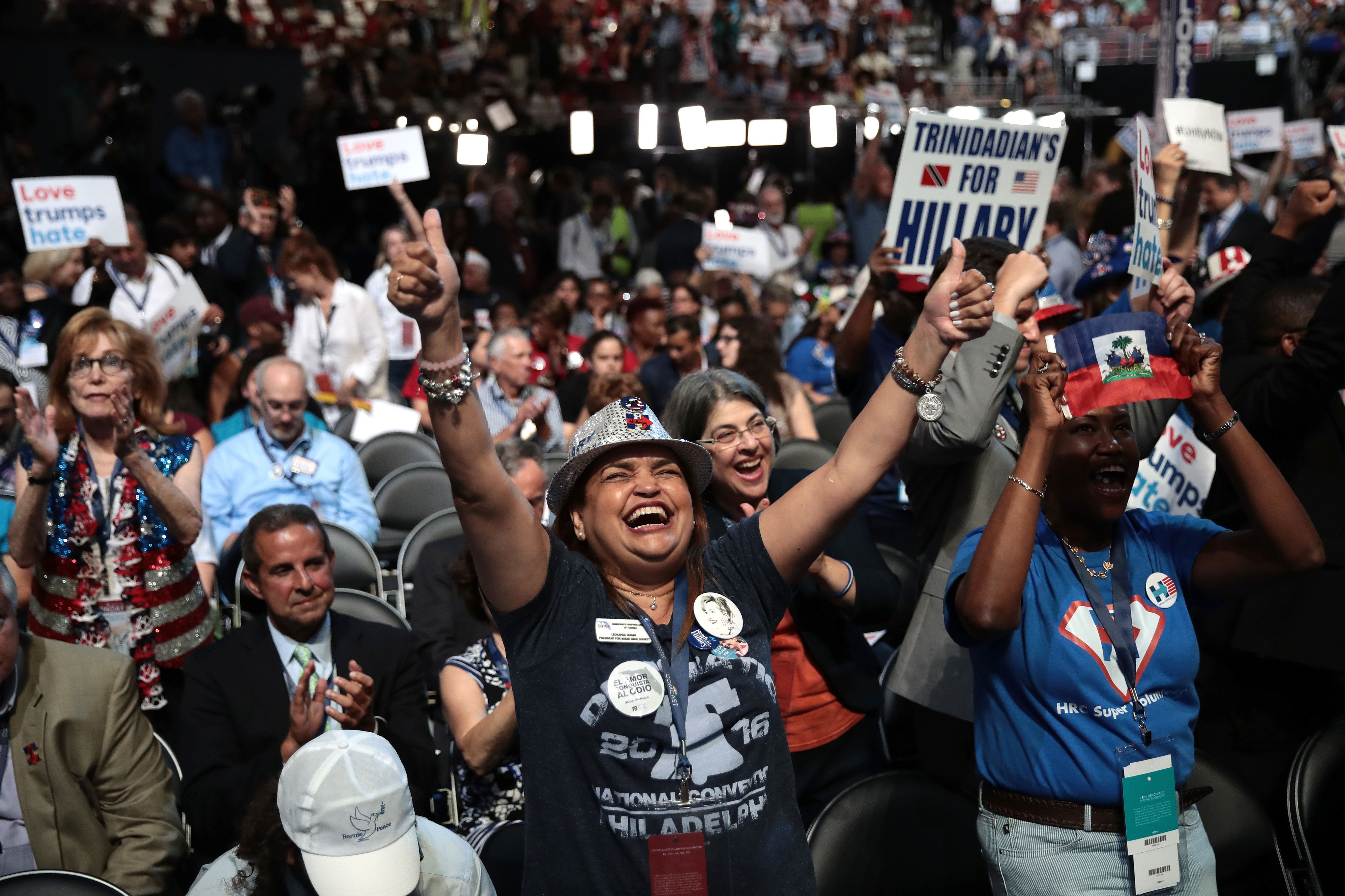 PHILADELPHIA, PA - JULY 25: Florida delegate Leonarda Duran cheers during the first day of the Democratic National Convention at the Wells Fargo Center, July 25, 2016 in Philadelphia, Pennsylvania. An estimated 50,000 people are expected in Philadelphia, including hundreds of protesters and members of the media. The four-day Democratic National Convention kicked off July 25. (Photo by Drew Angerer/Getty Images)