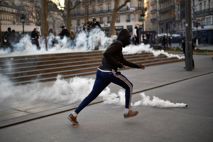 A protestor during a demonstration against police brutality in Paris. Feb 17.