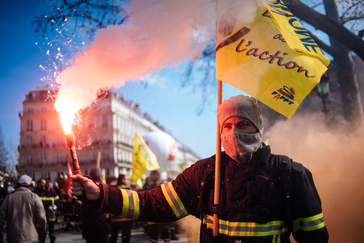 French firefighters protest the deterioration of their working conditions in Paris. March 14.