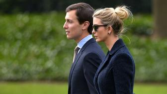 Senior Advisor to the President, Jared Kushner (L), walks with his wife Ivanka Trump to board Marine One at the White House in Washington, DC, on March 3, 2017.   The two are travelling with US President Donald Trump to Florida. / AFP PHOTO / MANDEL NGAN        (Photo credit should read MANDEL NGAN/AFP/Getty Images)