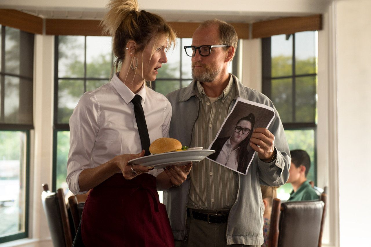 "Laura Dern as ""Pippi"" and Woody Harrelson as ""Wilson"" in the film WILSON.  Photo by Wilson Webb. © 2017 Twentieth Century Fox Film Corporation All Rights Reserved"