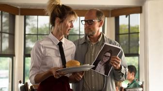 """Laura Dern as """"Pippi"""" and Woody Harrelson as """"Wilson"""" in the film WILSON.  Photo by Wilson Webb. © 2017 Twentieth Century Fox Film Corporation All Rights Reserved"""