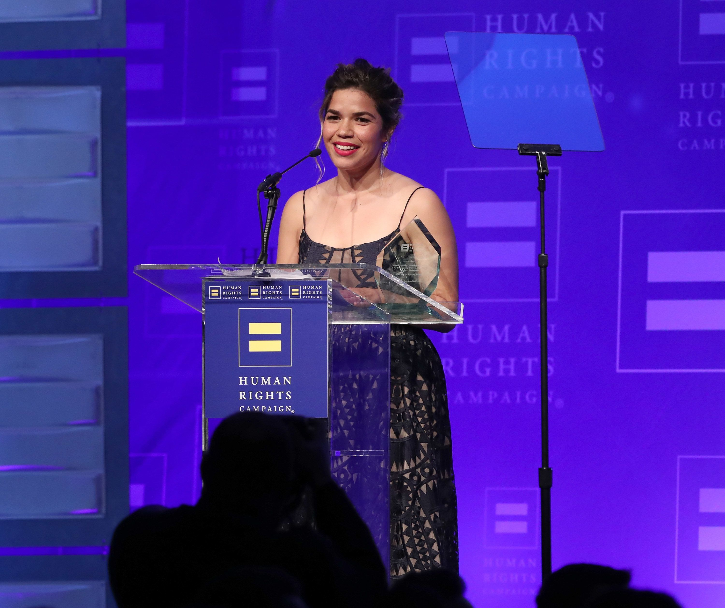 LOS ANGELES, CA - MARCH 18:  Honoree America Ferrera accepts the HRC Ally for Equality Award onstage at the Human Rights Campaign's 2017 Los Angeles Gala Dinner at JW Marriott Los Angeles at L.A. LIVE on March 18, 2017 in Los Angeles, California.  (Photo by Todd Williamson/Getty Images)