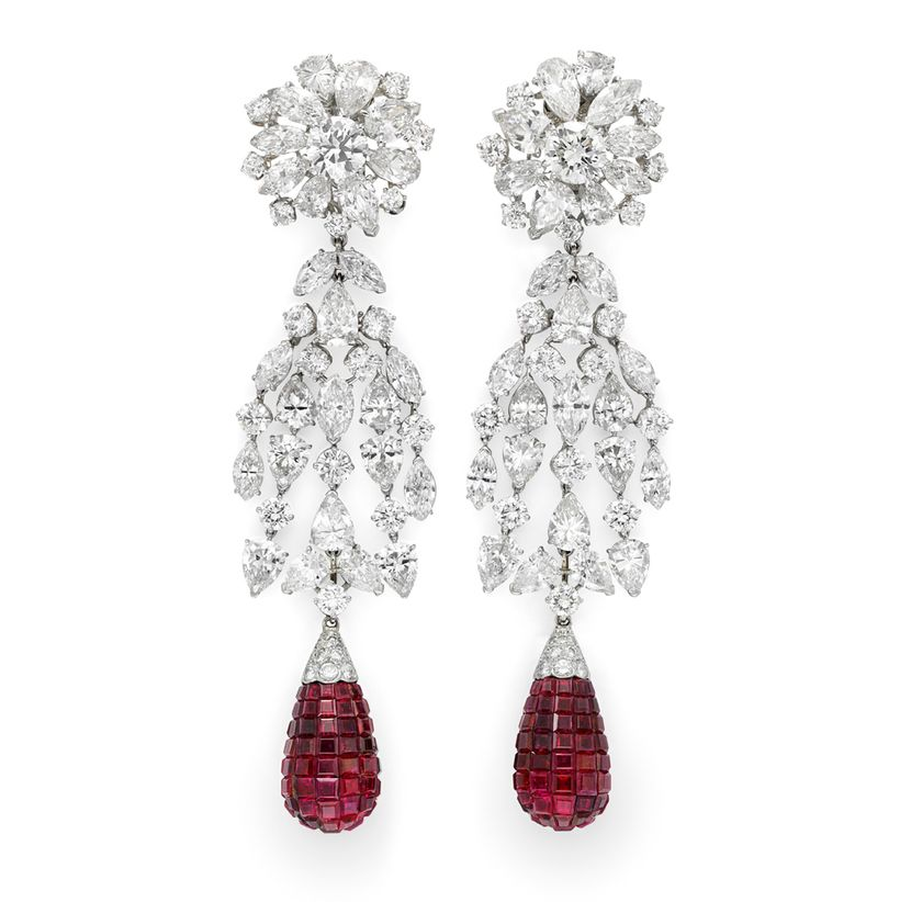 Simon Teakle's Van Cleef & Arpels' <em> platinum ruby and diamond earrings with a flexible cascade of circular, pear and marq