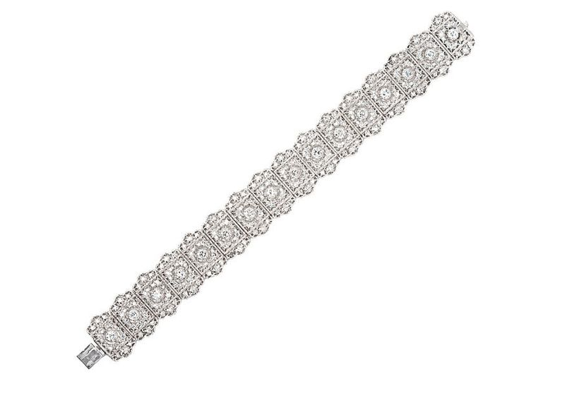 M. Khordipour's Mario Buccellati signed 18k white gold and diamond bracelet, circa 1920's.
