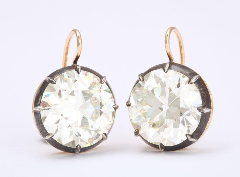 Pat Saling's  pair of 8-carat European cut diamond earrings, circa 1900.
