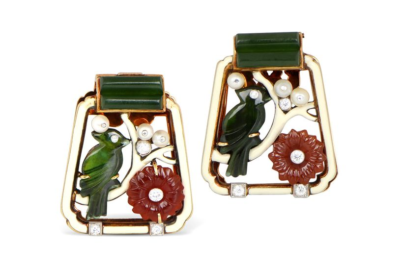 M. Kordipour's Cartier Art Deco clips in gold with enamel work, carved carnelian and tourmaline