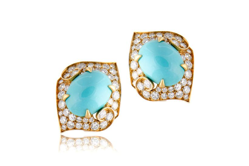 M. Khordipour's  Bulgari 18k Yellow Gold, Turquoise, and diamond earings, circa 1960s.