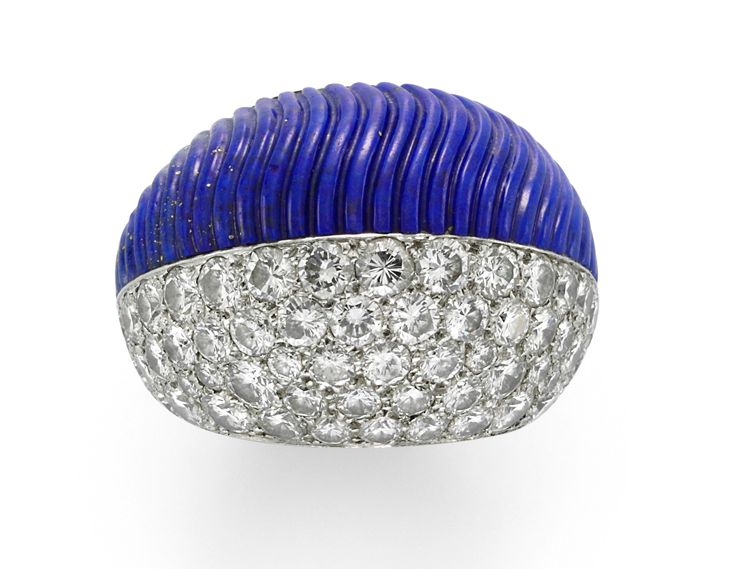 <strong>Simon Teakle</strong>'s <strong>Cartier platinum. </strong><em>lapis lazuli and diamond cocktail ring, designed as a