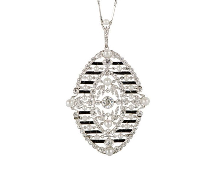 M. Khordipour's Edwardian platinum, onyx, diamond and seed pearls pendan on platinum chain.