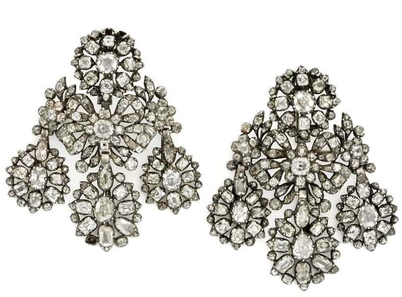 Pat Saling's  <em>pair of 18th century diamond girandole earrings, the top circular cluster suspending bow and foliate motifs