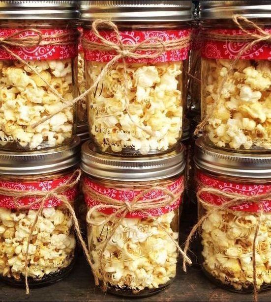 6 Pack The Popcorn In Rustic Mason Jars