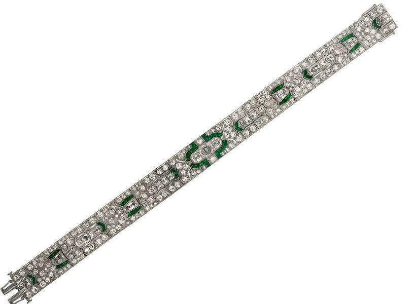 M. Khordipour's Cartier Art Deco platinum, emerald and diamond bracelet.