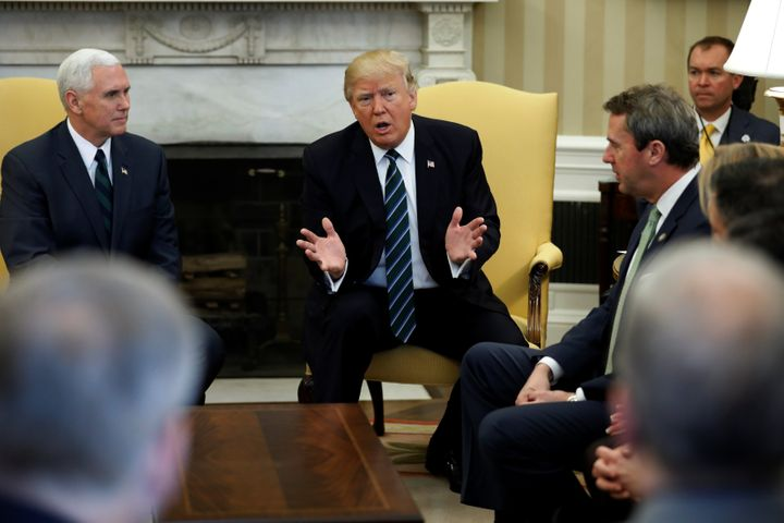 President Donald Trump and Vice President Mike Pence meet with U.S. Rep. Mark Walker (R-N.C.) and members of the Republican S