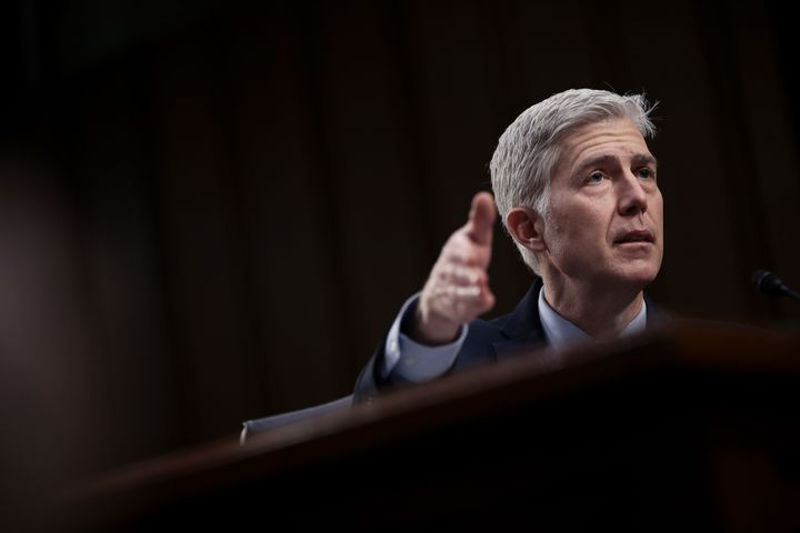 Judge Neil Gorsuch testifies on Tuesday, the second day of his Supreme Court confirmation hearing before the Senate Judiciary