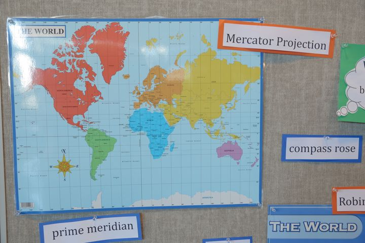 The Mercator projection map exaggerates the size of much of the world's landmasses.