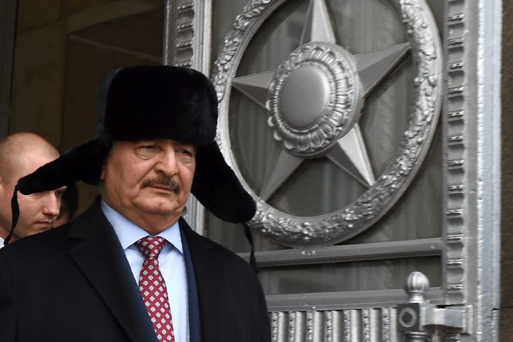 General Khalifa Haftar, pictured in Moscow, is aiming to establish a military regime in Libya and is backed by Russia.