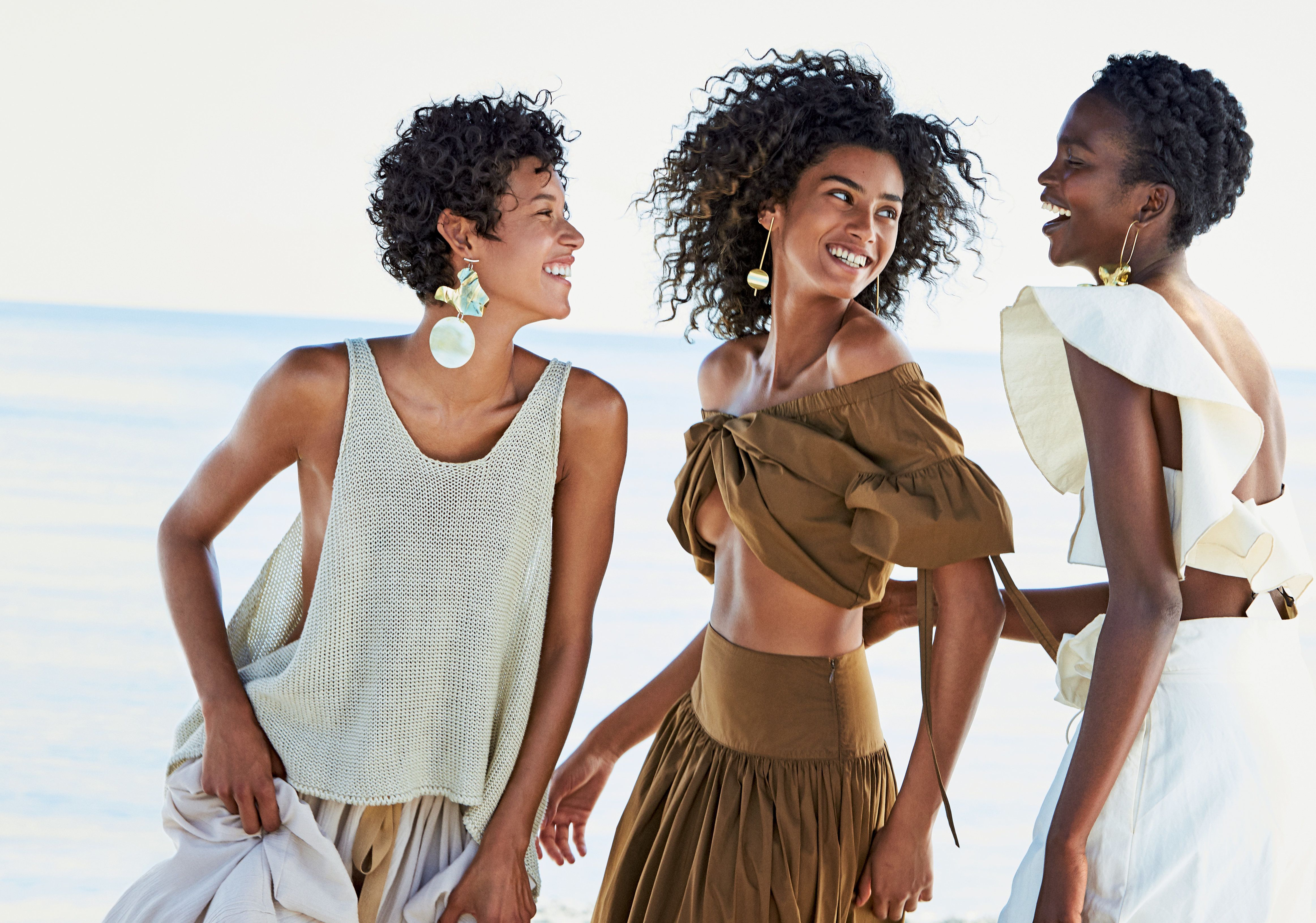 L to R: models Dilone, Imaan Hammam and Aamito Lagum