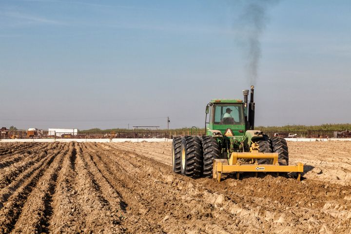 A field in California's San Joaquin Valley is plowed for planting.