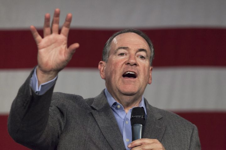 Mike Huckabee speaking at an event in 2015 in Des Moines, Iowa.