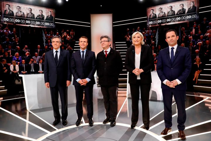 Left to right, French presidential election candidates Francois Fillon, Emmanuel Macron, Jean-Luc Melenchon, Marine Le Pen an