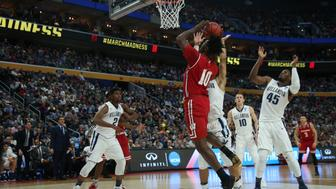 BUFFALO, NY - MARCH 18: Wisconsin Badgers forward Nigel Hayes (10) shoots during the NCAA Division 1 Men's Basketball Championship game between Wisconsin Badgers and Villanova Wildcats at the Key Bank Center in Buffalo, NY. (Photo by Jerome Davis/Icon Sportswire via Getty Images)