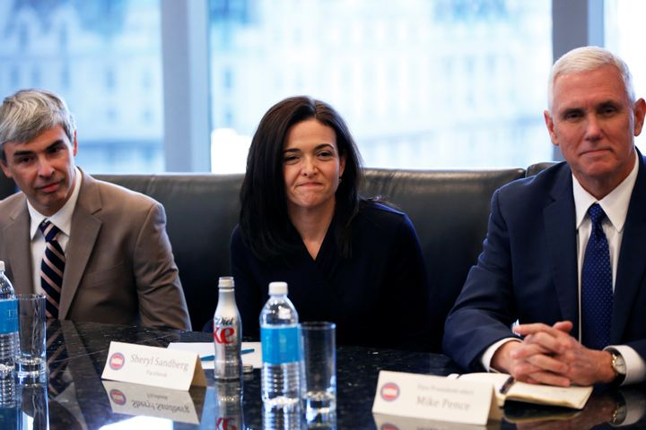 Larry Page, CEO of Alphabet, Sheryl Sandberg, COO of Facebook, and Vice President-elect Mike Pence meet with President-e
