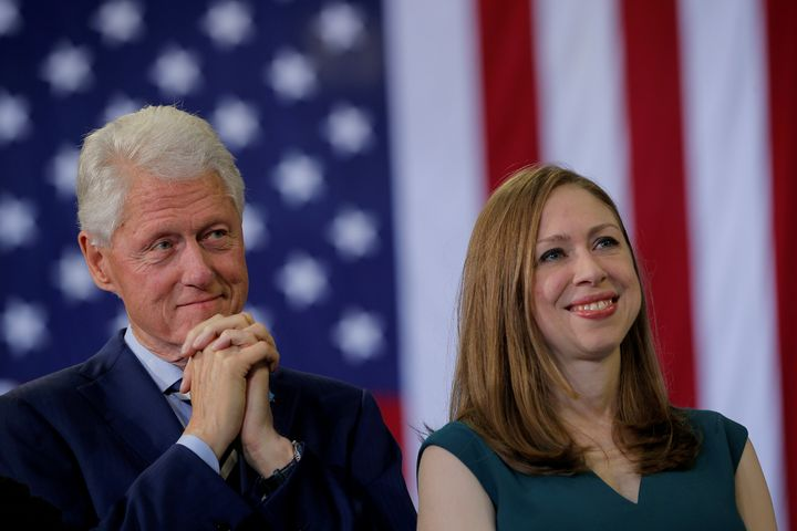 Former President Bill Clinton and Chelsea Clinton at a campaign rally for Hillary Clinton in November.