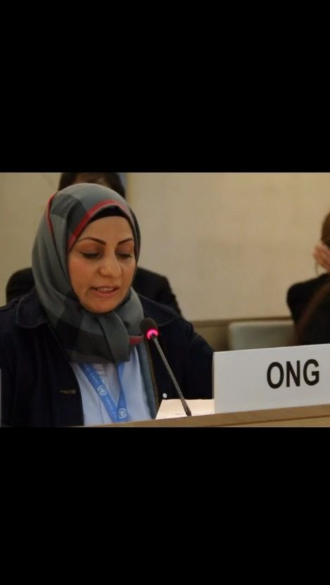 Ebtesam Al-Saegh speaking about Bahrain's human rights abuses at the Human Rights Council in Geneva last week.